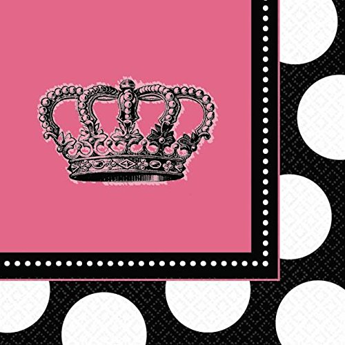 "Amscan Rocker Princess Birthday Party Beverage Napkin (16 Piece), Black/Pink, 5 x 5"""