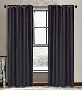 """Vegas 2-Piece Lined Faux Silk Grommet Curtain Panels  56x88"""" in Eggplant"""