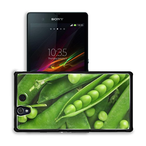 Macro Shot Green Peas Pod Vegetable Sony Xperia Z 5.0 C6603 C6602 Snap Cover Premium Aluminium Case Customized Made To Order Support Ready 5 4/8 Inch (140Mm) X 2 7/8 Inch (73Mm) X 7/16 Inch (11Mm) Luxlady Sony Xperia Z Cover Professional Xperia_Z Cases To