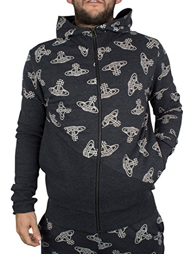 Vivienne Westwood Uomo Time Machine All Over Logo Felpa con cappuccio, Grigio, Small
