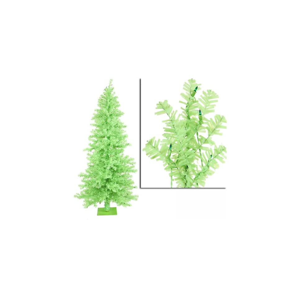 7.5 Pre Lit Chartreuse Wide Cut Artificial Christmas Tree   Green Lights