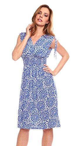 Women V-neck Tie Shoulder Printed Smocked-Waist Knee Length Dress (Large, Blue)