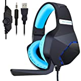 PC Gaming Headset for PS4 Xbox One, Onikuma 3.5mm Stereo USB LED Headphones with Omnidirectional Microphone, Volume Control for Computer Laptop Mac Playstation 4 by YSSHUI-Black + Blue (Color: Black )