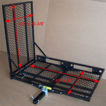STEEL 2″ Hitch Wheel Chair Scooter Bike RAMP Carrier – 500 lbs Cap.