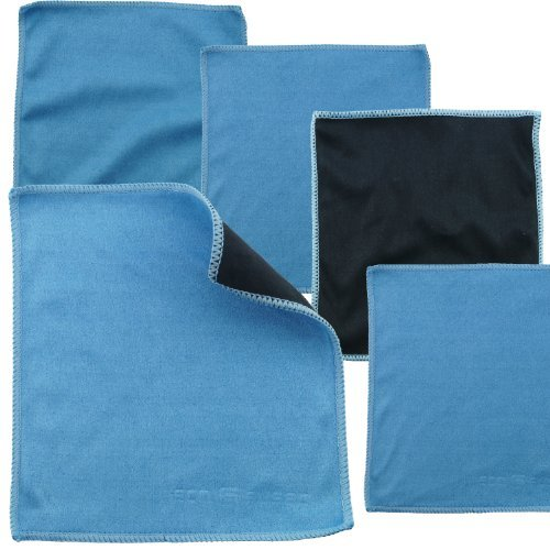 Microfiber Cleaning Cloths - 5 Pieces Pack of Double-sided Cleaning Cloths (6.6 inch x 6.2 inch) - Microfiber and Suede Cloth for Cleaning Cell Phones, LCD TV and Laptop Screens, Camera Lenses, Tablets, Silverware, Glasses, Watches and Other Delicate Surfaces (Black Side: Microfiber & Blue Side: Suede)