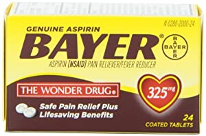 Bayer Genuine Aspirin Tablets, 325 mg, 24 count (Pack of 6)