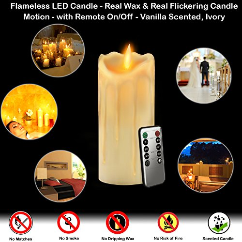 Gideon 9 Inch Flameless LED Candle - Dripping Style - Real ...