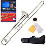 Mendini MTB-N Nickel Plated B Flat Tenor Slide Trombone with Tuner, Case, Mouthpiece, Gloves, Slide Grease, and Cleaning Cloth