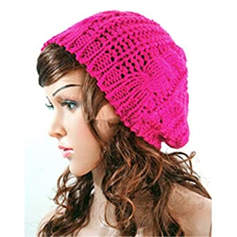 Women Lady Winter Warm Knitted Crochet Slouch Baggy Beret Beanie Hat Cap,ONE,Rose Red