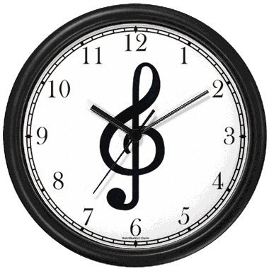 Treble Clef - Musical or Music Theme - Wall Clock by WatchBuddy Timepieces (Black Frame)