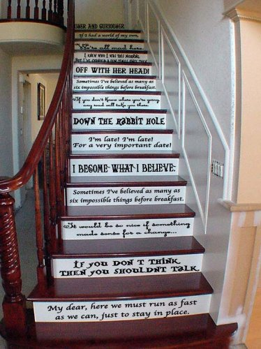Alice Story Book Quote Set Vinyl Stairs Or Wall Decal [Black] Cheshire Cat  Quote