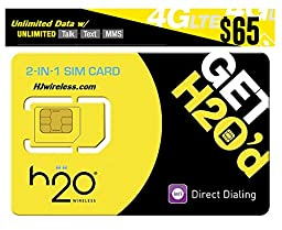 H2O H20 Wireless Micro / Mini SIM Card for any Unlocked GSM Phone w/ $65 First Month Included-- HJ Wireless Activation Kit