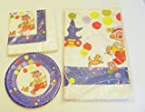 Vintage Circus Clown and Dog Birthday Party Set Table Cover, Napkins, and Plates