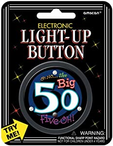 Amscan 349-035 Over The Hill Electronic Light-Up Button, 2.5-Inch, 50 Years