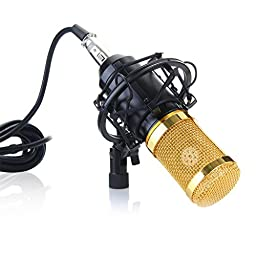 Excelvan BM-800 Condenser Microphone Cardioid Pro Audio Studio Vocal Recording Mic with Shock Mount (Black)