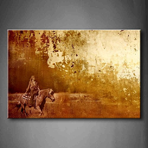 Brown A Crack Background With A Image Of A Woman Ride A Horse Fence Wall Art Painting Pictures Print On Canvas Animal The Picture For Home Modern Decoration (Stretched By Wooden Frame,Ready To Hang)