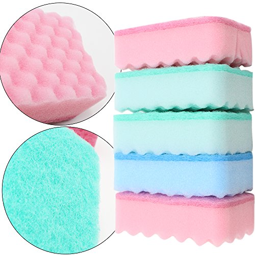 Mutifunctional Soft Durable Wavy Absorbent Dishwashing Scrubber Sponges Cleaning Brush Dishcloth for Kitchen and Home(Pack of 5) (Smoke Scrubber compare prices)
