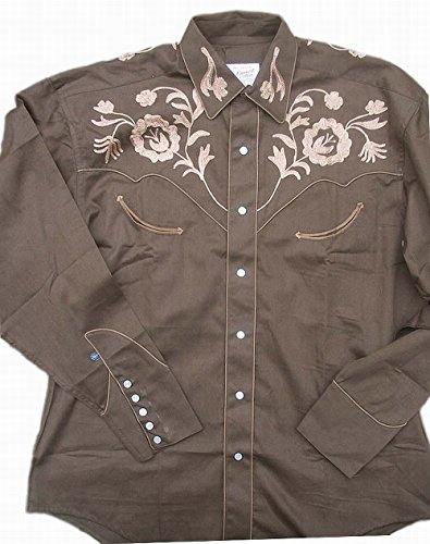 Rockmount Mens Vintage Style Western Floral Embroidery Snap Shirt 0