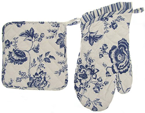 Euphoria Handmade Cotton Quilted Prints Oven Mitt Mitten And Kitchen Pot Holder Combo Set White Ground Blue Floral Design back-411872