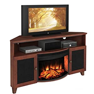 shaker style corner 61 tv stand with curved electric fireplace home kitchen. Black Bedroom Furniture Sets. Home Design Ideas