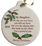 Daughter with Love 2015 Porcelain Christmas Ornament Rhinestone Crystal