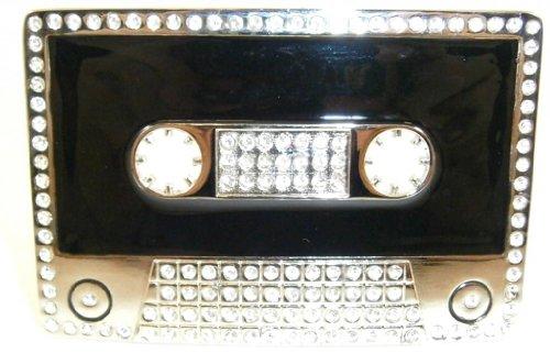 Hip Hop Cassette Crystal Rhinestone Silver Belt Buckle