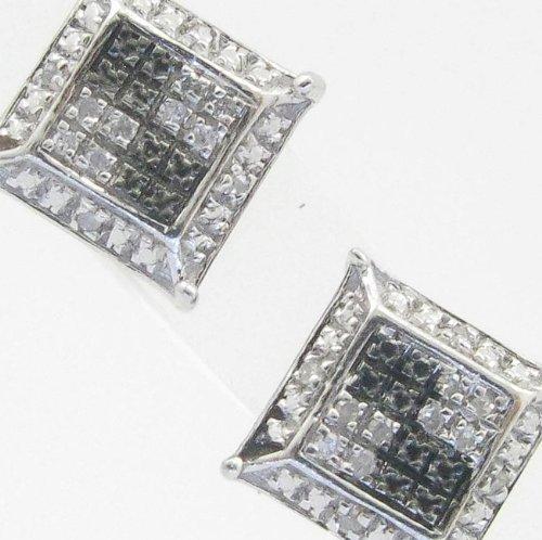Mens 925 Sterling Silver earrings fancy stud hoops huggie ball fashion dangle white black sided pave earrings
