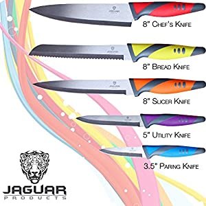 Kitchen Knife and Utensil Set with Rotating Stand ☆ 11 Pc Kitchen Set with 5 Knives and 5 Utensils in an Attractive Rotating Holder ☆ By Jaguar Kitchen Products