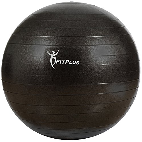 Exercise Ball, FitPlus Premium EXTRA THICK Yoga Ball '2 Year Warranty' - Swiss Ball Includes Foot Pump. Anti-Burst - Slip Resistant! 55cm, 65cm, 75cm, 85cm Size Fitness Balls Available. (BLACK, 75 CM)