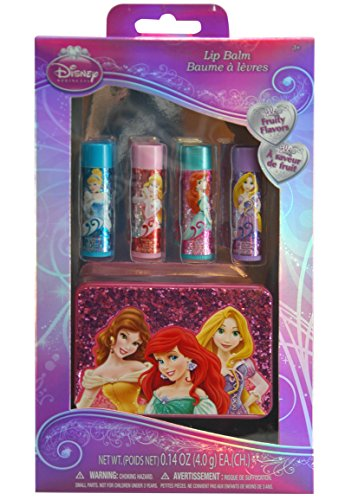 Disney Princess 4 Piece Lip Balm Gift Set with Carrying Case disney princess train case