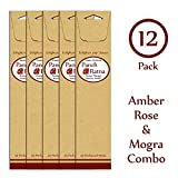 Panchratan Perfumed Charcoal Incense Sticks ( Pack Of 12, 23cms, Amber, Mogra And Rose Fragrance )