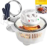 VonShef 12 LTR White Premium Halogen Oven Cooker with Heat Resistant Basket & FREE 200 Page Recipe Book - Complete with Extender Ring (Up to 17 Litres), Lid Holder, Baking Tray, Steamer Tray, Skewers, Low Rack, High Rack, Glove