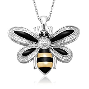 Sterling Silver and Enamel Bumble Bee Diamond Pendant, 18""