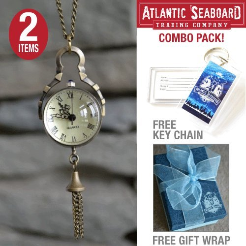 Antique Sphere Steampunk Vintage Glass Orb Pocket Watch Necklace Chain Jewelry with The Official Atlantic Seaboard Trading Co. Luggage Key Chain -- COMBO PACK