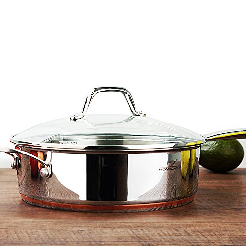 HOMI CHEF Mirror Polished Copper Band Stainless Steel 2.5 QT Saute Pan with Glass Lid (9.5 Inch, Nickel Free, No Coating) - Nonstick Cast Iron Straight Sided Deep Fry Pan - Stainless Steel Skillet Pan