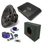 "Kicker 10"" Comp Subwoofer DUBa2100 200 Watt Amp wire kit Truck enclosure package"