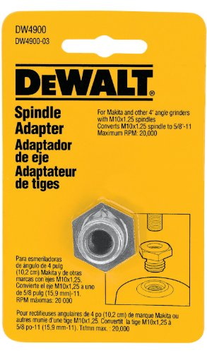DEWALT DW4900 5/8-11-Inch Grinder Arbor Adapter for M10-Inch by 1.25 Spindles