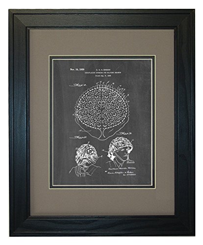 "Camouflaging Covering For Military Helmets Patent Art Chalkboard Print in a Solid Pine Wood Frame with a Double Mat (11"" x 14"")"
