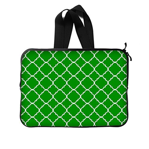 """Cool Quatrefoil Simple Green And White Classic Reticular New Laptop Sleeve 14""""(Twin Sides) front-969374"""