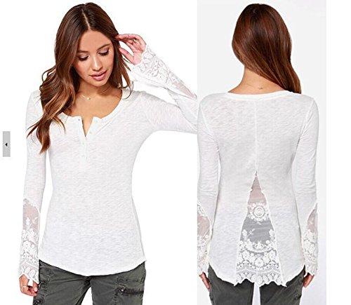 CU@EY Europa in maglia metallica mosaico slim Spalato macaone e femminile pizzo t-shirt , white , l
