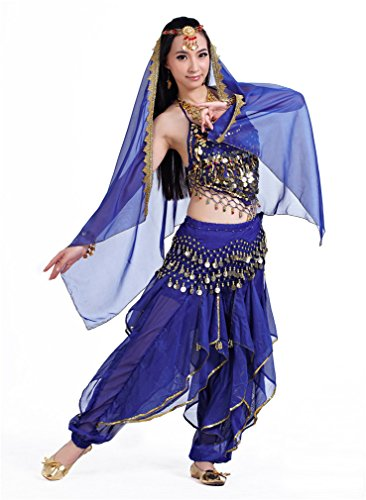 Dreamspell 2014 Dark Blue indian style dancer belly dance suit stage 5PCS