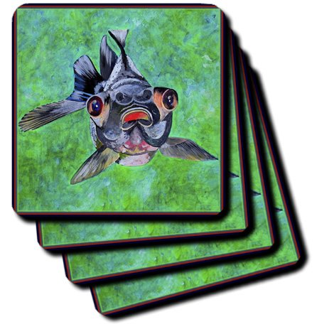 Cst_48473_2 Taiche - Acrylic Painting - Blackmoor Goldfish - Blackmoor Goldfish- Blackmoor Goldfish, Telescope Goldfish, Goldfish, Dragon Eye Goldfish - Coasters - Set Of 8 Coasters - Soft