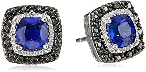 Sterling Silver Created Blue Sapphire Cushion with Black and White Diamond Earrings