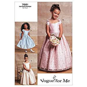 Vogue Patterns V7681 Girls' Lined Evening Or Lower Calf Length Dress, Size 2-3-4-5