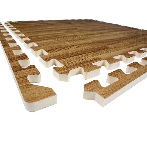48 Sqft 10mm Wood Foam Interlocking Tiles - 12 Tiles
