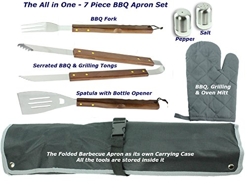 7 Piece Barbecue Apron and Cooking Tool Set a Great Gift for any Man who Barbecues. This All in One High Quality Barbecue Grilling Set Includes an Apron with , Three BBQ Tools, a BBQ Mitt, and Salt and Pepper Shakers. The Apron Folds and Snaps Together Be