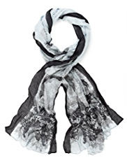 M&S Collection Lightweight Lace Bird Print Scarf