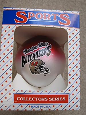 Two Toned Glass Ball Ornament of the Tampa Bay Buccaneers