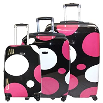 Baracuda Ultima Polka Dot 3 Piece Nested Polycarbonate Expandable Hardside Spinner Set in Black with White and Fuschia Polka Dots