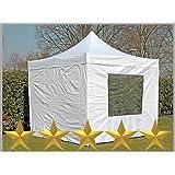 Faltzelt Faltpavillon 3x3m 3x3m weiß mit 4 Seitenteilen Partyzelt Pavillon Verkaufszelt wasserdicht